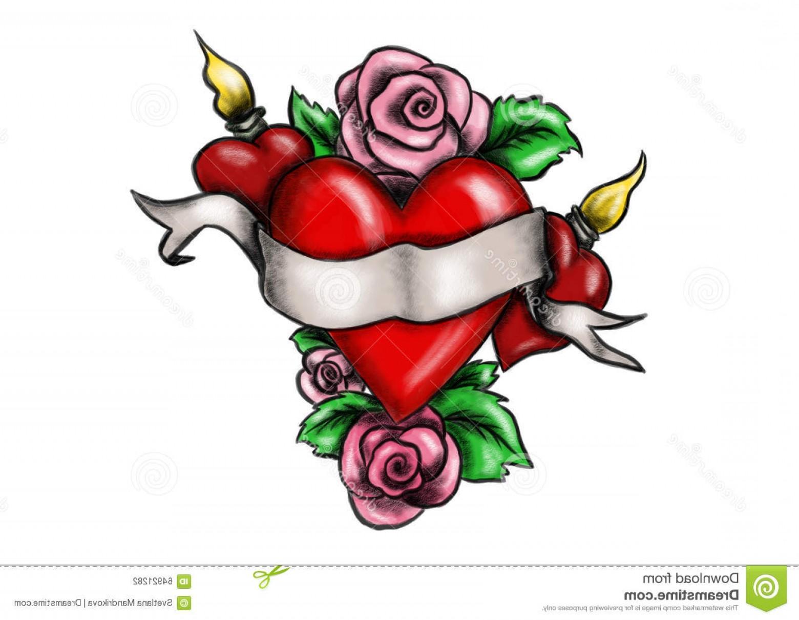 1560x1210 Drawn Red Rose Ribbon Drawing