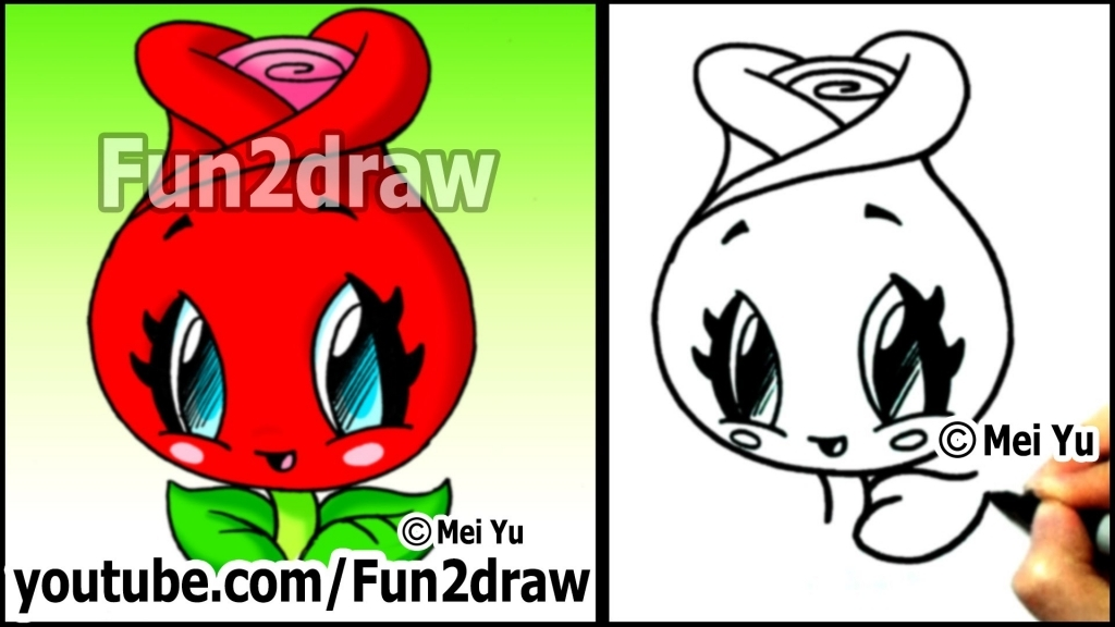 1024x576 How To Draw A Cartoon Rose How To Draw A Rose Cute Easy Kawaii