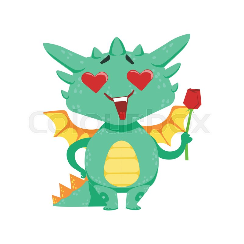 800x800 Little Anime Style Baby Dragon In Love Holding Single Red Rose