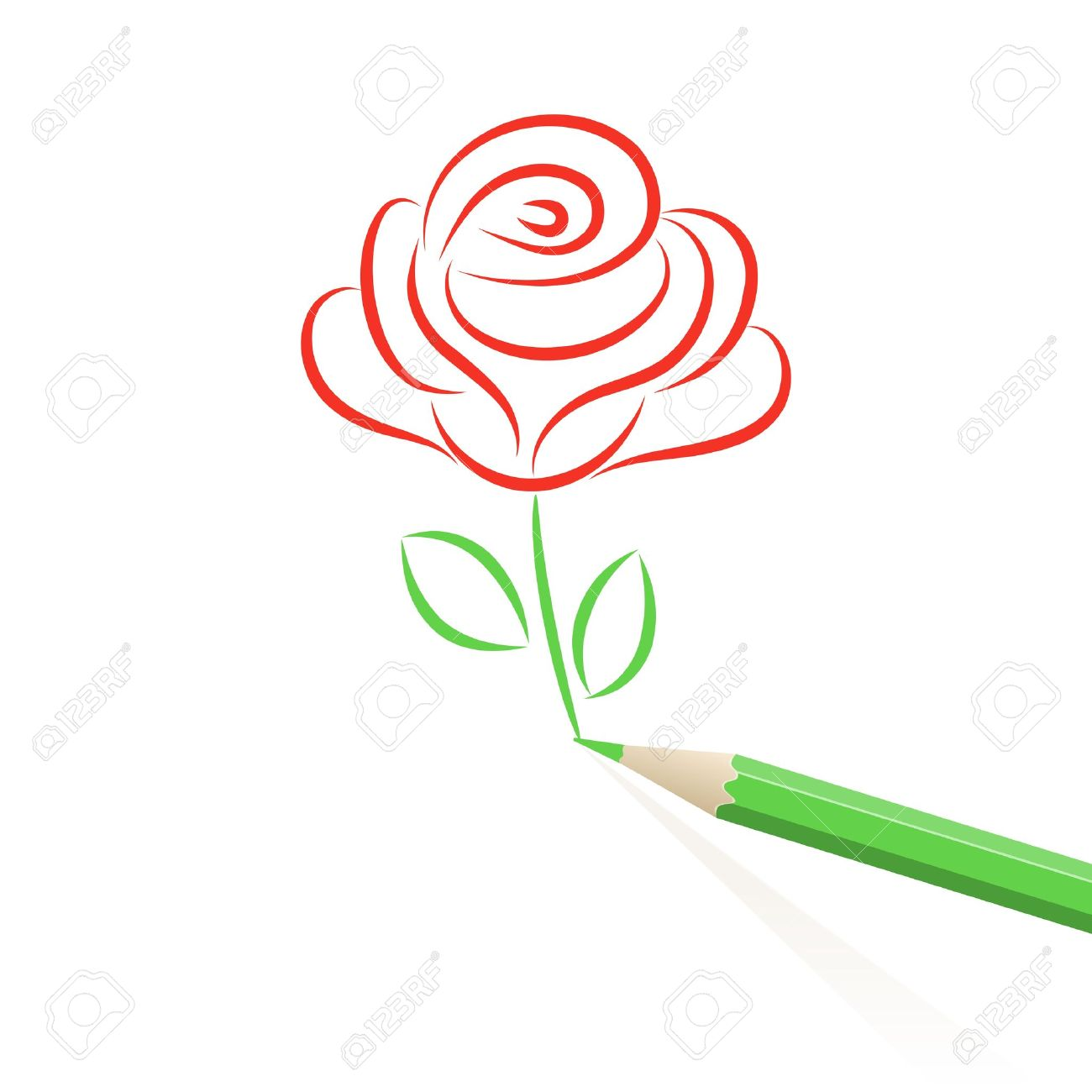 1300x1300 Rose Drawn In Pencil. Royalty Free Cliparts, Vectors, And Stock