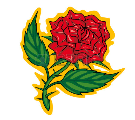 450x400 Red Rose In Cartoon Style For Tattoo Dsign Royalty Free Cliparts