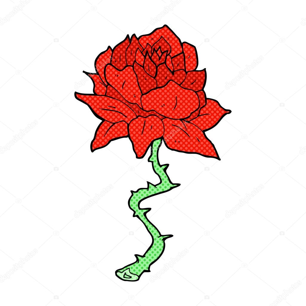 1024x1024 Comic Cartoon Tattoo Rose Stock Vector Lineartestpilot