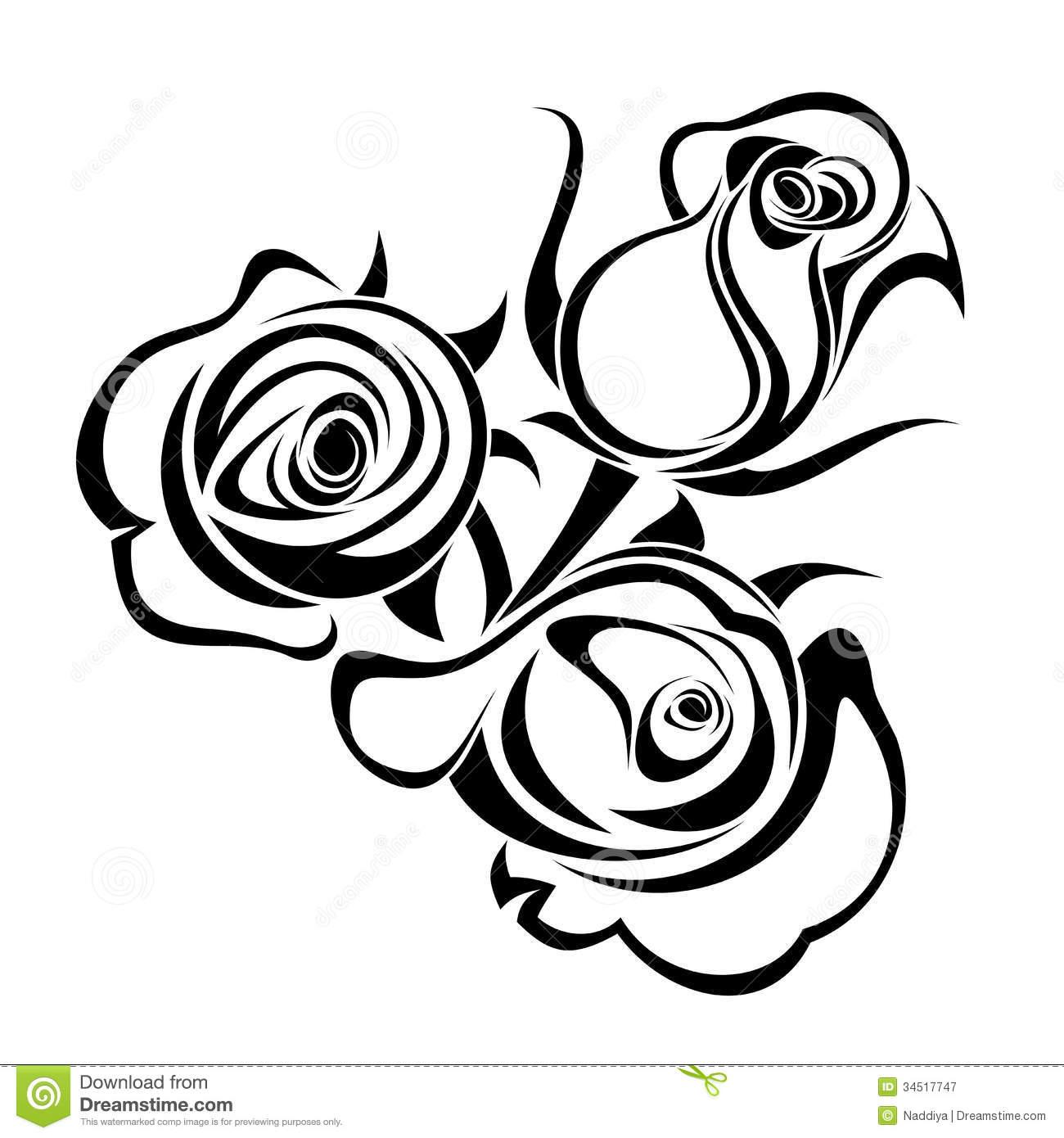 1300x1390 Rose Clip Art Black And White Clipart Panda