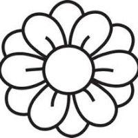 200x200 Black And White Flower Clip Art