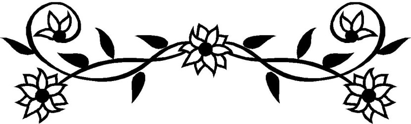 830x251 Black And White Floral Clipart