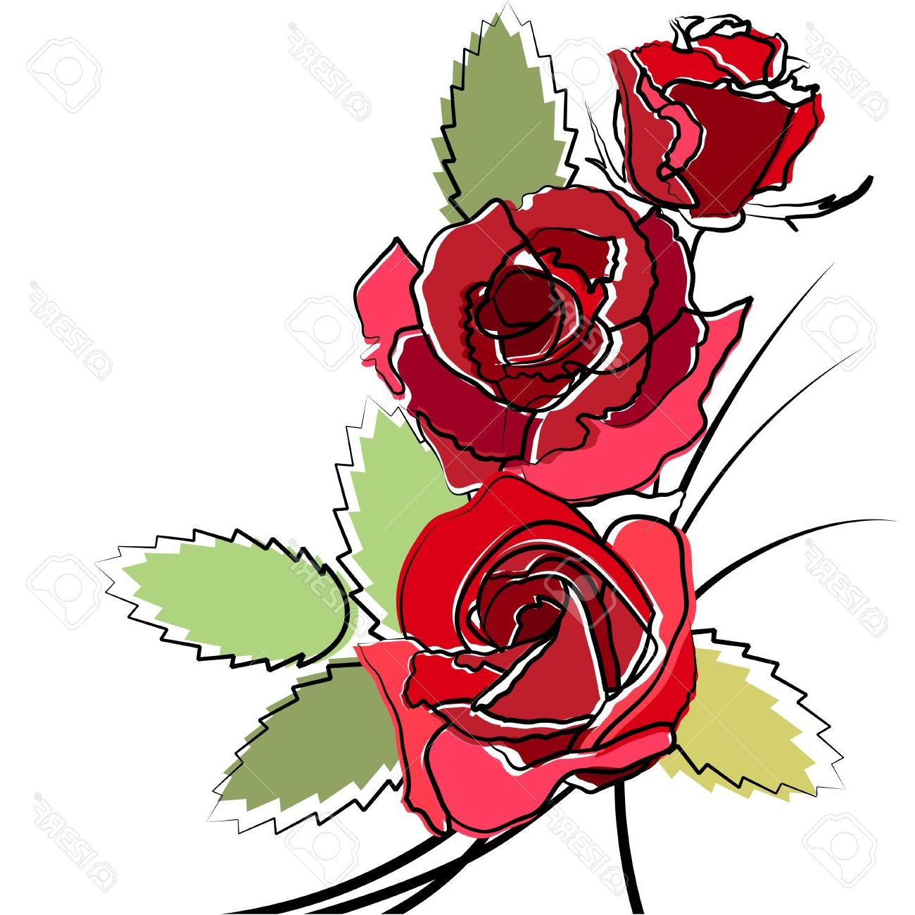 1300x1300 Stylized Simple Roses Stock Vector Rose Clip Art