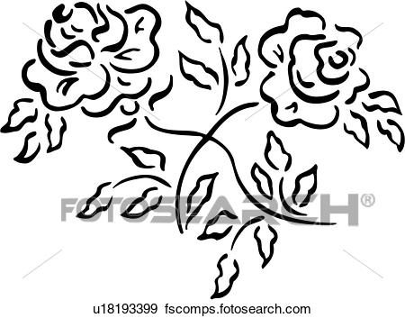 450x353 Clip Art Of , Bouquet, French, Ornaments, Rose, Simple, U18193399
