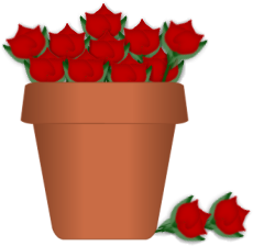 230x224 Pot of Roses Clip Art