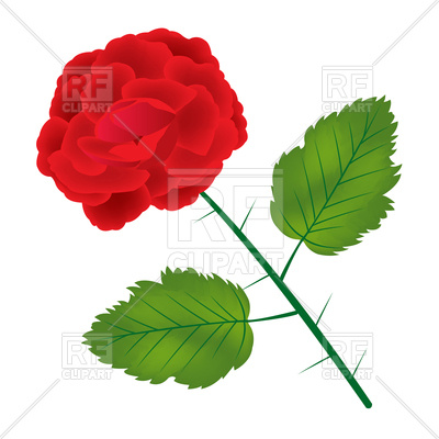 400x400 Red Rose With Leaves Royalty Free Vector Clip Art Image