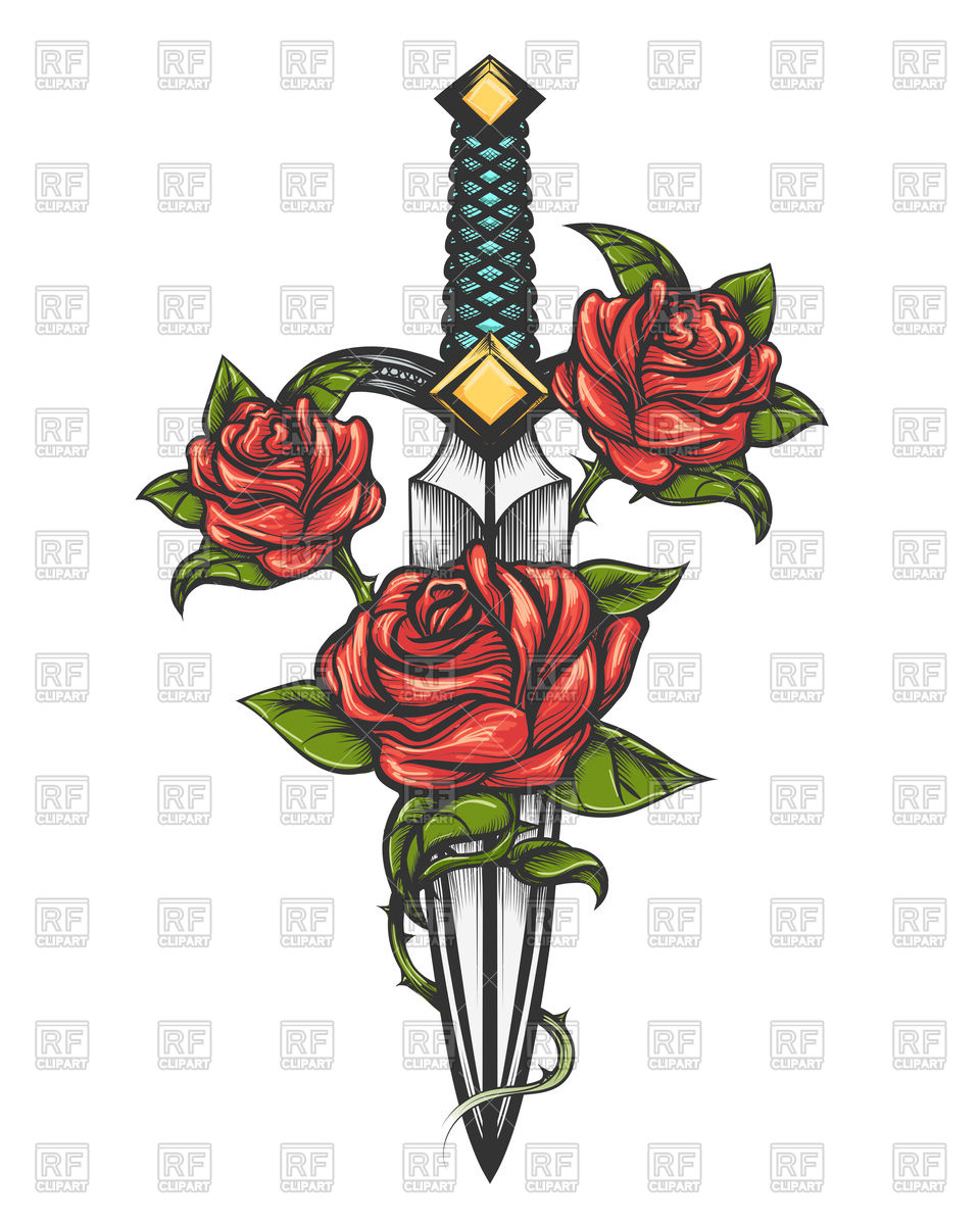 960x1200 Traditional Tattoo With Rose Flowers And Dagger Knife Royalty Free