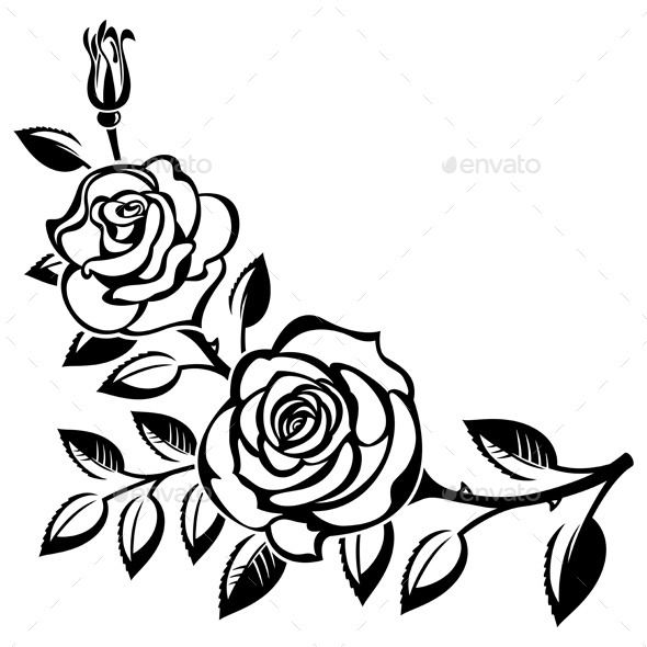 590x590 Branch Of Roses Art Cut, Design Elements And Outlines