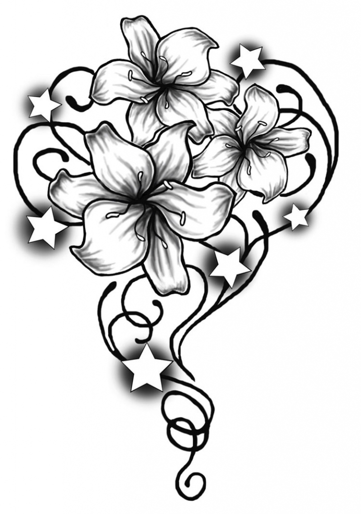 719x1024 Flower Tribal Drawing Tribal Butterfly And Rose Flower Drawing