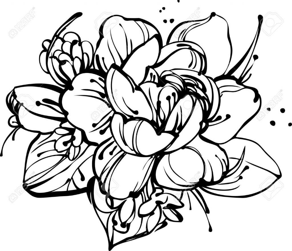 Rose flower drawing free download best rose flower drawing on 1024x883 rose flower bunch sketch images image a small bouquet of roses and izmirmasajfo