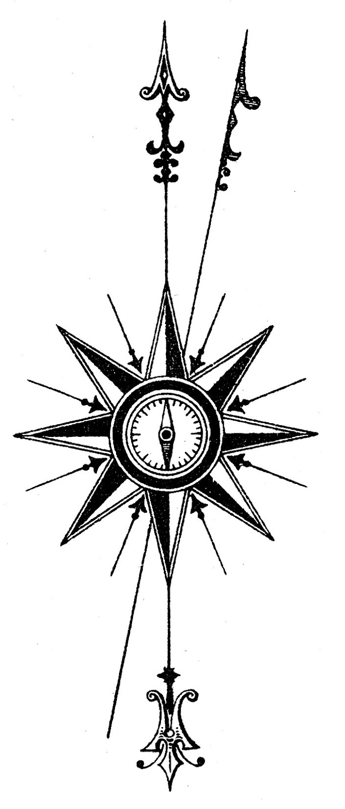 684x1600 Free Clipart Compass Rose Line Drawing