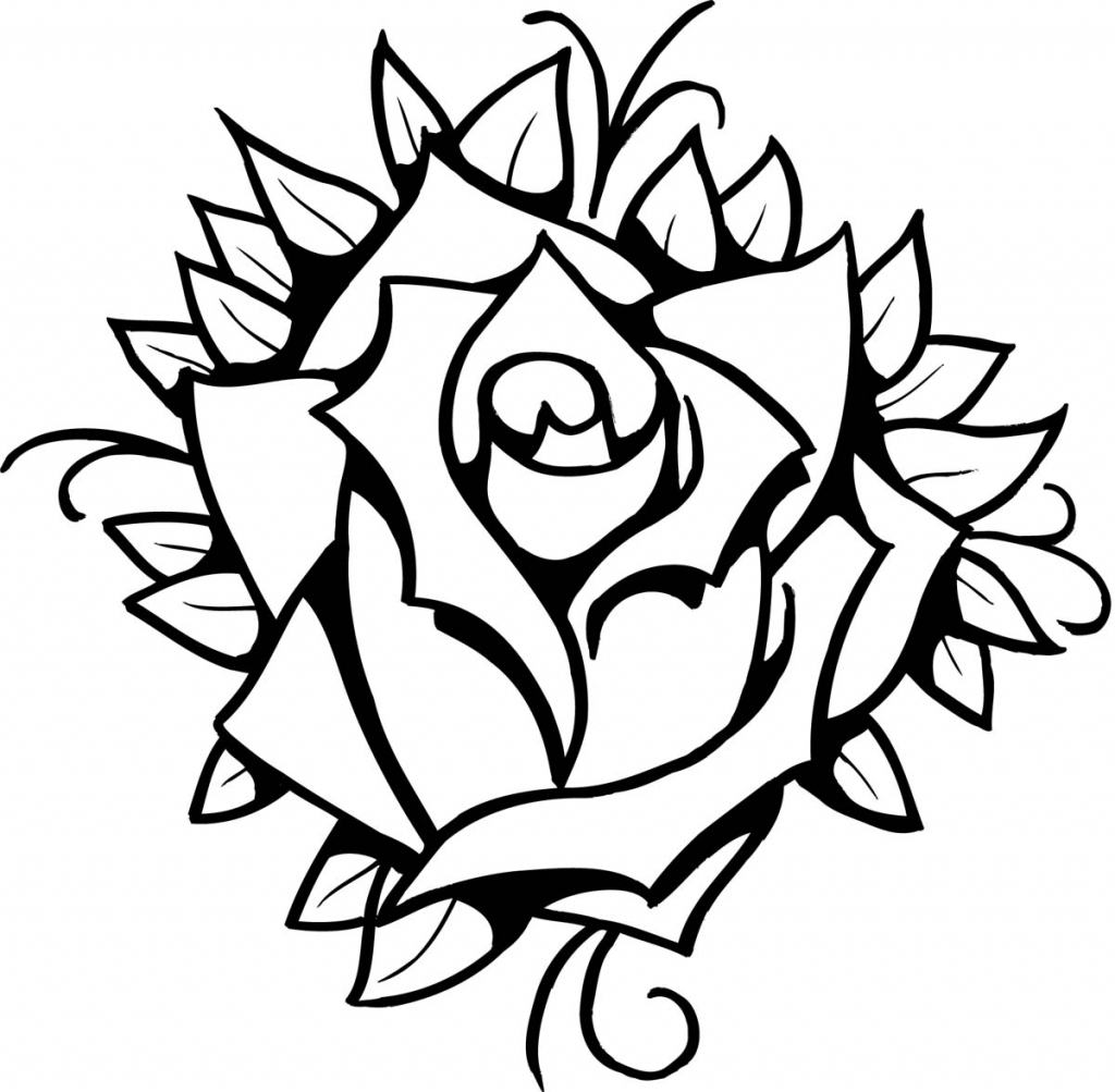 Line Drawing Rose Tattoo : Rose line drawing free download best