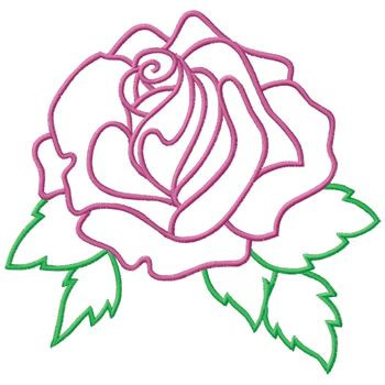 350x350 Rose Outline Embroidery Designs, Machine Embroidery Designs