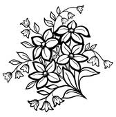 168x170 Clipart Of White Rose Outline With Gray Spots On A Black