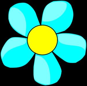 300x297 Aqua Flower Clip Art
