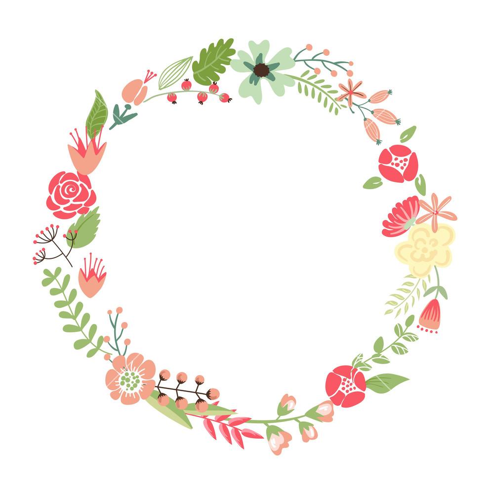 1000x1000 Floral Frame. Cute Retro Flowers Arranged Un A Shape Of The Wreath