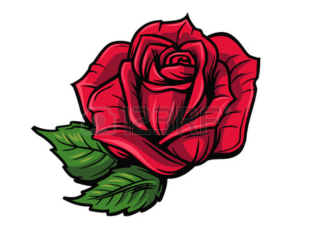 450x346 Red Rose Cartoon Style On White Background Royalty Free Cliparts