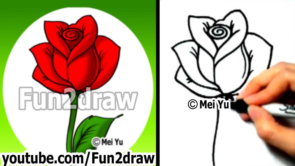 1024x576 Cartoon Roses Draw Rose Cartoon Drawing Free Download Clip Art