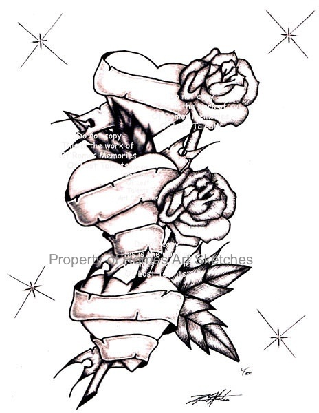 464x600 Heart And Rose Drawings In Pencil Group