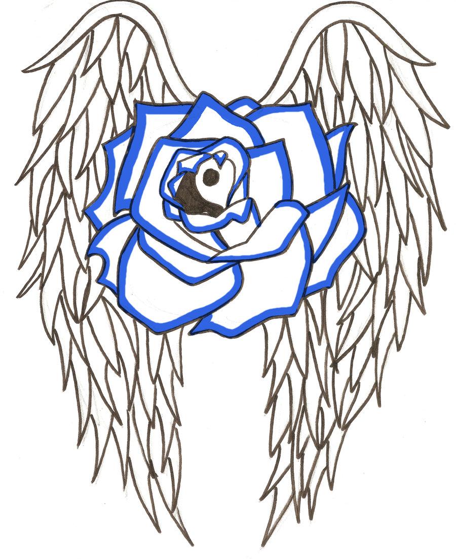 900x1103 Rose Wings Tattoo Design By Kimberjim