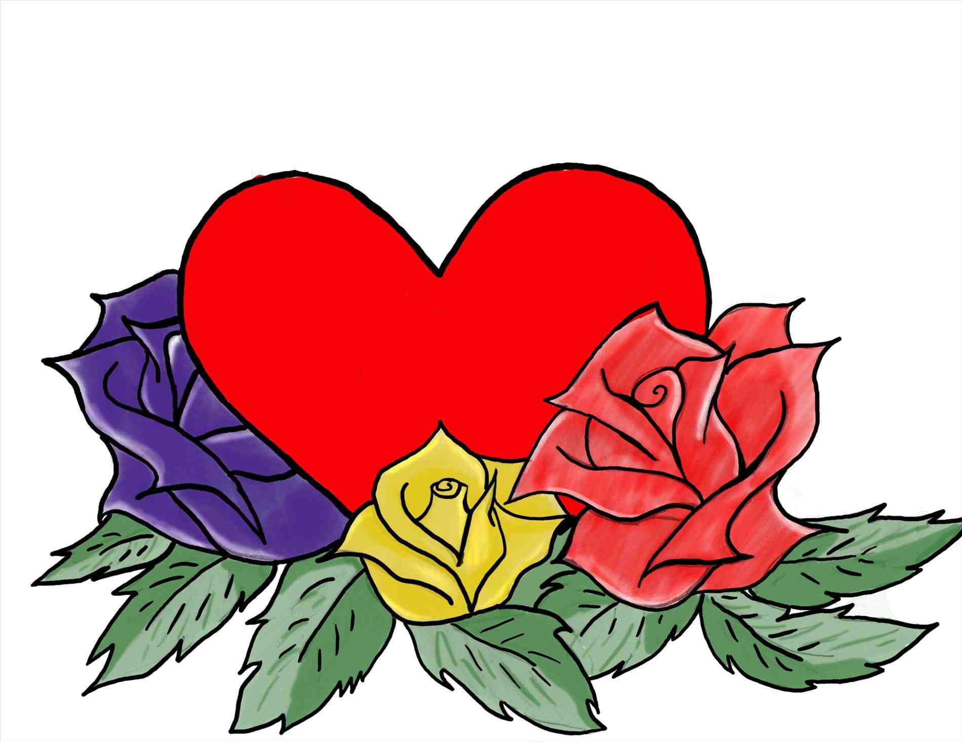 1899x1464 Easy Drawings Of Hearts With Roses
