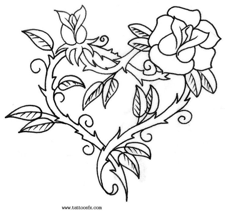 Roses Drawings With Hearts | Free download best Roses Drawings With ...