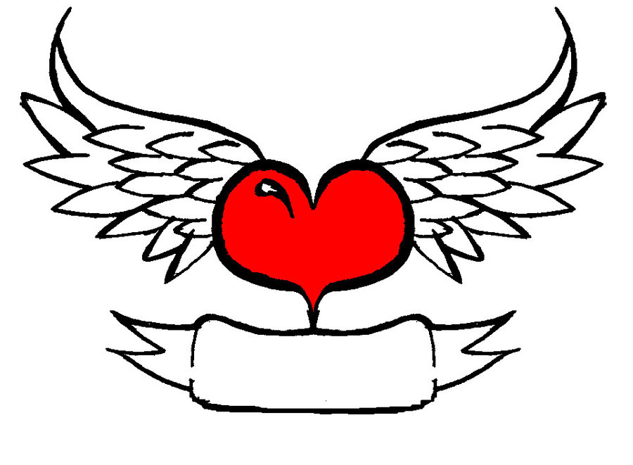 900x661 Clipart Of Hearts With Wings And Roses