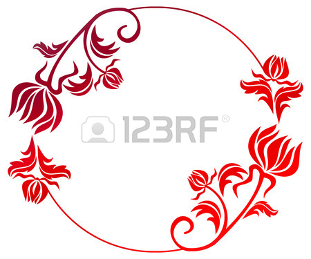 450x375 Beautiful Round Floral Frame With Gradient Fill. Color Silhouette