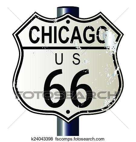 450x470 Clip Art Of Chicago Route 66 Highway Sign K24043398