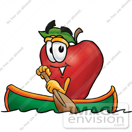 450x450 Clip Art Graphic Of A Red Apple Cartoon Character Rowing A Boat