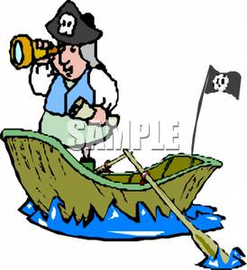 274x300 Free Clipart Image A Pirate In A Row Boat Looking Through A Spy Glass