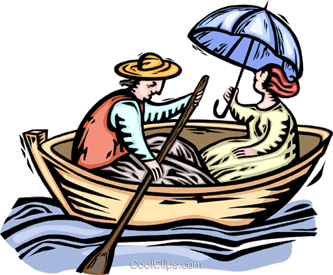 480x397 Couple In A Rowboat Royalty Free Vector Clip Art Illustration
