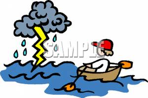 300x199 Kid In A Rowboat Rowing Toward A Lightning Storm Clipart Picture