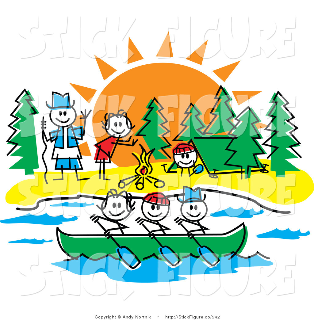 1024x1044 Clip Art Of Stick Children Rowing A Boat And Making A Fire