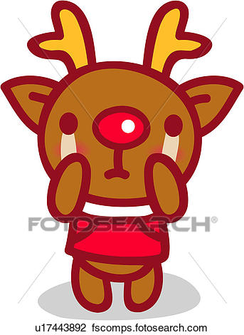 343x470 Clipart Of Red Nosed Reindeer, Animal, Reindeer, X Mas, Christmas