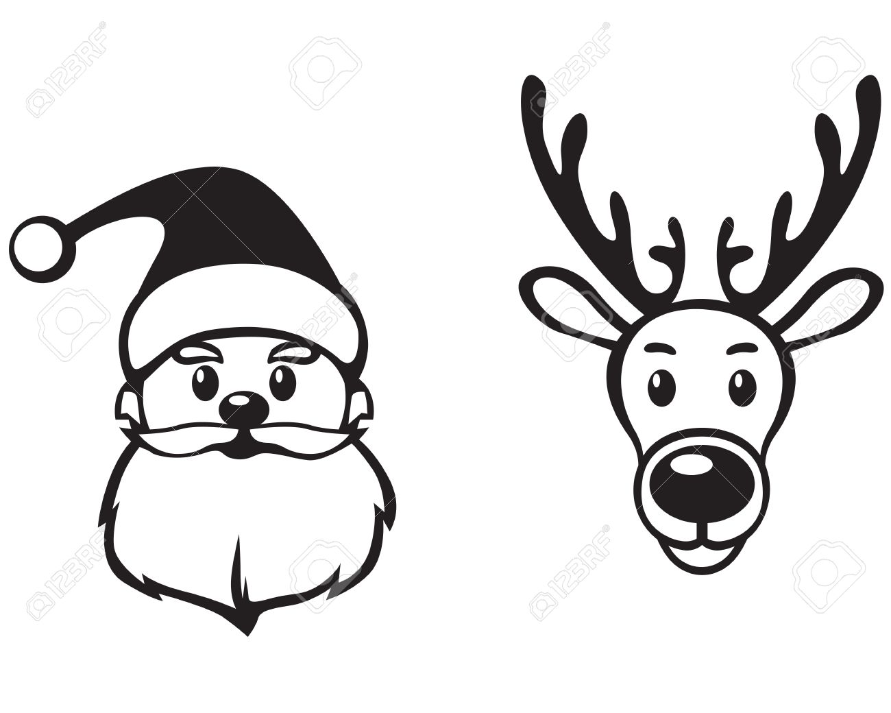 1300x1040 Reindeer Face Clipart Black And White