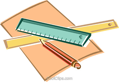 480x334 Ruler, Pencil, Paper Royalty Free Vector Clip Art Illustration