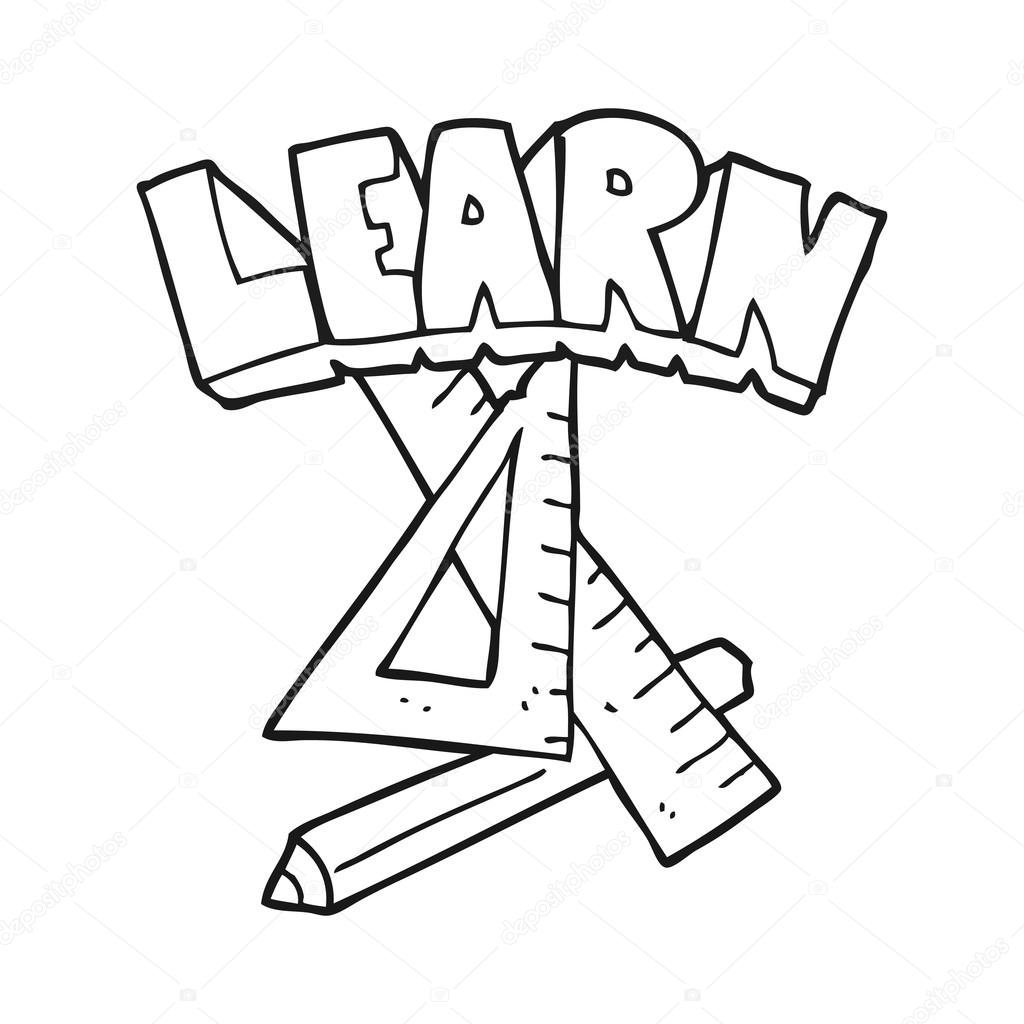 1024x1024 Black And White Cartoon Pencil And Ruler Under Learn Symbol