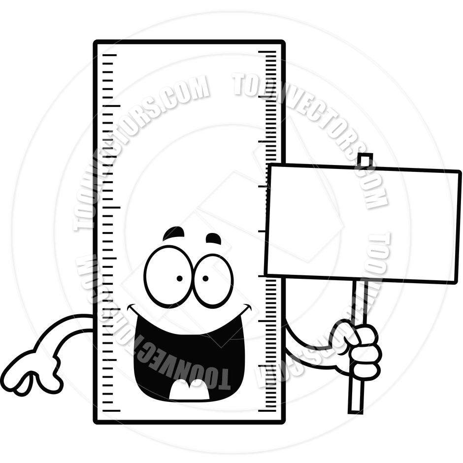940x940 Cartoon Line Gauge Ruler Sign (Black And White Line Art) By Cory