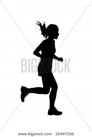 318x470 Female Track Runner Clip Art Runner Silhouette Stock Vector