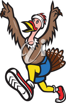 225x350 Clip Art Illustration Of A Turkey Running A Race