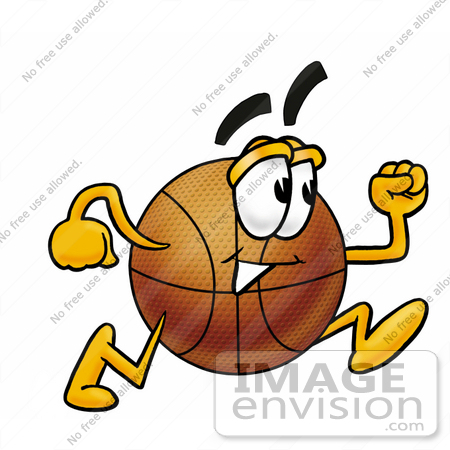 450x450 Clip Art Graphic Of A Basketball Cartoon Character Running