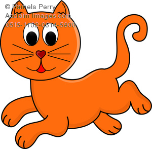 300x294 Art Illustration Of Cartoon Ginger Cat Running