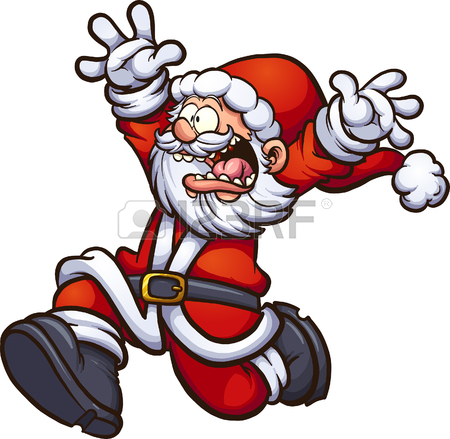 450x439 Santa Claus Running Scared With Arms Up. Vector Clip Art