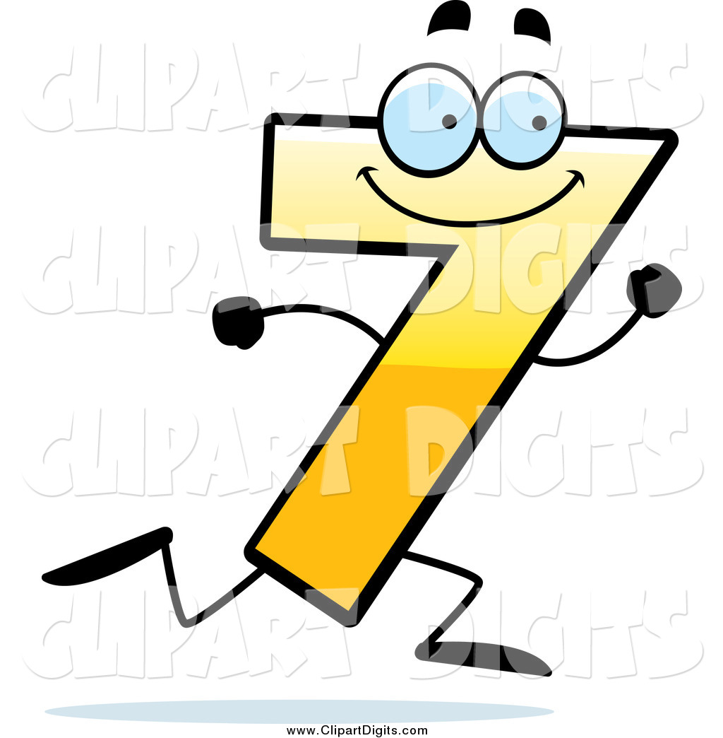 1024x1044 Vector Cartoon Clip Art Of A Running Yellow Number Seven Character
