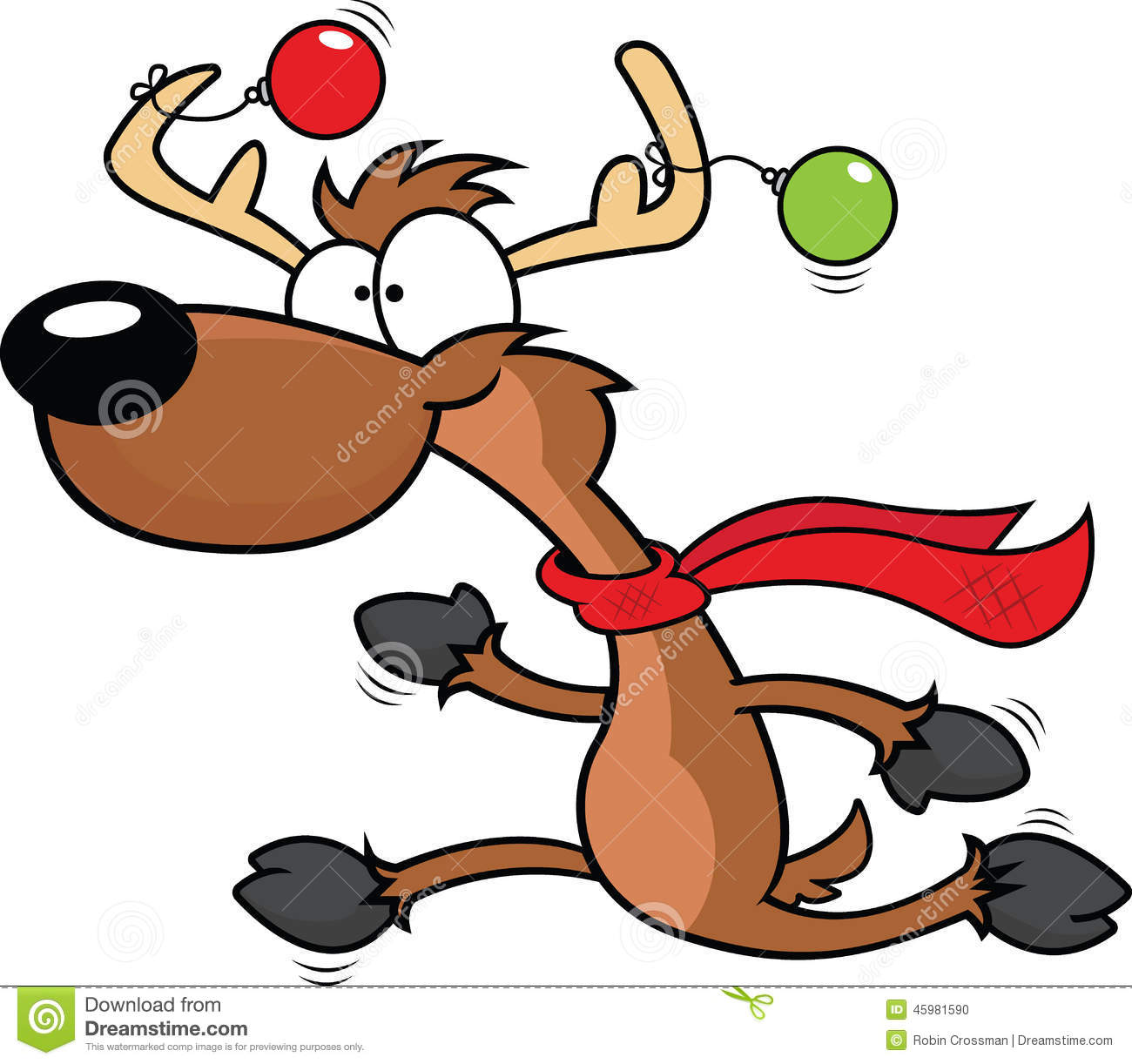 1300x1222 Cartoon Reindeer Running Stock Vector Image 45981590