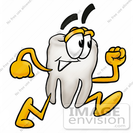 450x450 Clip Art Graphic Of A Human Molar Tooth Character Running